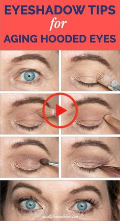 Struggling with eye makeup for your aging, hooded, droopy eyes? This eyeshadow t… Struggling with eye makeup for your aging, hooded, droopy eyes? This eyeshadow tutorial has tons of tips to enhance your look. Lots of options and helpful videos! Eyeshadow For Hooded Eyes, Eyeshadow Tips, Eye Makeup Tips, Eyeshadow Tutorials, Makeup Videos, Makeup Tutorials, Make Up Hooded Eyes, How To Do Eyeshadow, Applying Eye Makeup