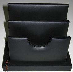 Black Genuine Top Grain Leather Letter Holder