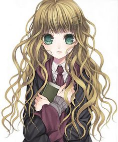This reminds me of luna and hermione oh yeah and harry potter character personality? I got luna Harry Potter Anime, Harry Potter Hermione Granger, Harry Potter Images, Draco, Brown Hair Green Eyes, Girl With Brown Hair, Black Hair, Manga Art, Manga Anime