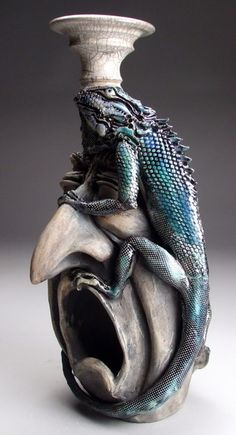Mitchell Grafton - Iguana on Face Jug -Ceramic Sculpture