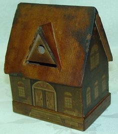 Old Hand Crafted Folk Art Wood House Puzzle Box Bank