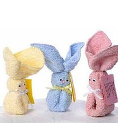 """Used to call them """"booboo bunnies."""" How To Make Wash Cloth Bunnies...the blog is in another language but there is a graphic illustration of how to make these bunnies. They'd be cute in an Easter basket."""