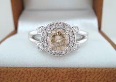 14k White Gold 1.05 Carat CERTIFIED Champagne & White Diamonds Unique Halo Engagement Ring. $1,800.00, via Etsy.