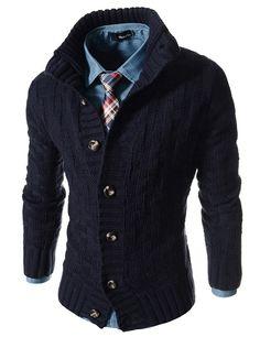 41434946fff0 Slim Fit Turtle Neck Knitted 7 Button Pattern Cardigan Men Sweater