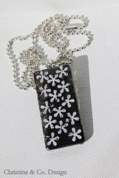 Black with White Flowers Glass Pendant/ Handbag Charm by ChristineandCodesign, $25.00