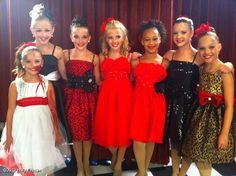 Mackenzie, Chloe, Kendall, Paige, Nia, Brooke, and Madison of Abby Lee Dance Company in costumes for 'The Last Text' group dance