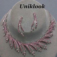 Elegant Lite Purple Crystal Collar Jewelry Silver Necklace Sets Costume jewelry