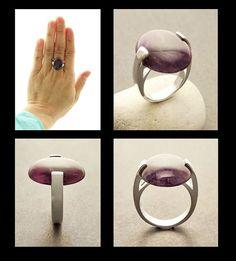 Genuine Amethyst Ring Sterling Silver Geometric Ring by KRAMIKE