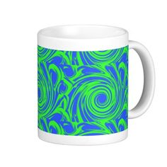 Peacock blue green pattern mugs