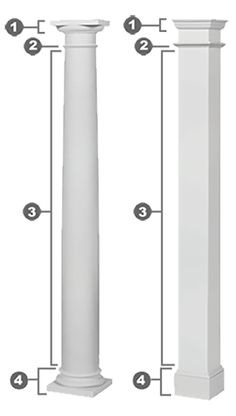 Architectural columns made of fiberglass composite supplied round and square, fluted or straight smooth surface with a primed finish. House Columns, Front Porch Columns, Square Columns, Fluted Columns, Tuscan Column, Fiberglass Columns, Craftsman Style Porch, Columns For Sale, Post Contemporary