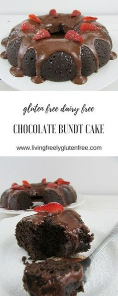 This moist and decadent chocolate bundt cake is gluten free and dairy free. It is the perfect dessert for entertaining or celebrating. With less than 20 minutes prep and easy to find ingredients you will find this your go-to recipe. http://www.livingfreelyglutenfree.com
