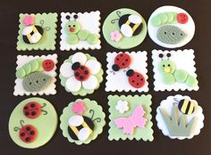 12 x edible icing Bug Ladybird insect themed cupcake toppers by ACupfulofCake on Etsy.