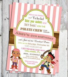 Items similar to Jake and the Neverland Pirates Birthday Invitation: Printable Girls Pirate Invite, Matching Party Printables, other Invitations Available on Etsy Pirate Birthday Invitations, Girls Party Invitations, Print Your Own Invitations, Invites, 4th Birthday, Birthday Party Themes, Birthday Ideas, Pirate Theme, Pirate Party