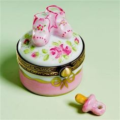 Limoges Baby Girl Shoes on Box with Roses and Pacifier The Cottage Shop