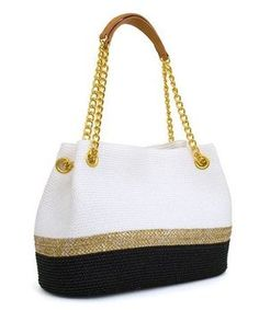 White & Black Stripe Straw Tote Handbag - Quotes and Prayers - - Crochet Tote, Crochet Handbags, Crochet Purses, Diy Sac, Bead Embroidery Jewelry, Straw Tote, Knitted Bags, Handmade Bags, Tote Handbags