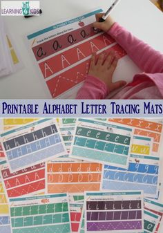 Printable Alphabet Letter Tracing Mats available in two fonts - fun rainbow theme and matching pictures