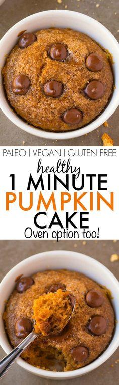 Healthy ONE Minute Pumpkin Mug Cake- Light, fluffy and moist on the inside and…