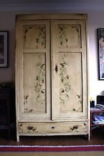 Italian Vintage Shabby Chic hand painted solid wood wardrobe