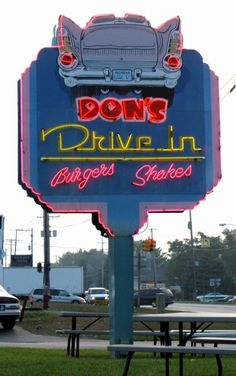 "You can get a ""pink cadillac"" full of fries, juicy burger, and a real strawberry shake at Don's in Traverse City, Michigan. It's weird to see stuff on here that I see all the time! Traverse City Michigan, Michigan Travel, Lake Michigan, Drive In, Roadside Attractions, Roadside Signs, Vintage Neon Signs, Pink Cadillac, Mackinac Island"