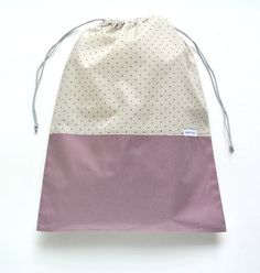Cute Polka Dot Laundry Travel Bag / $20.63 Travel Laundry Bag, Lingerie Bag, Travel Accessory Bag, Drawstring bag, French Cotton, Cambric & Poplin, Mist With Fig Dots, Gift for her