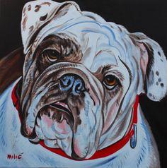 """bulldog 20x20"""" oil on canvas by dragoslav milic"""