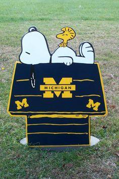 Michigan Wolverines  Snoopy Peanuts Huge Wood by duranduran2946, $50.00