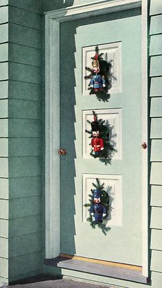 50s door decorations christmas - 1950s Outdoor Christmas Decorations