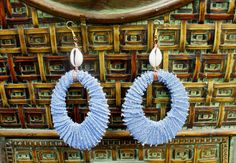 Large Denim Cowrie Shell Earrings by HouseofSuna on Etsy, $25.00