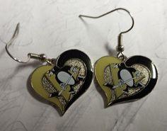 NHL Pittsburgh Penguins Silver Swirl Heart Dangle Earrings