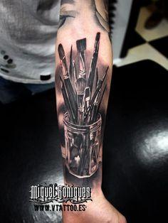 Really good work by Miguel Bohigues Makeup Artist Tattoo, Makeup Tattoos, Tattoo Artists, Vintage Tattoo Sleeve, Sleeve Tattoos, Dope Tattoos, Black Tattoos, Tatoos, Creative Tattoos