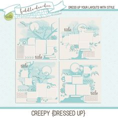 Creepy {Dressed Up} templates feature die cut trees and bats and are a perfectly creepy way to start layouts about Halloween, trick-or-treating, or just about anything your little ghouls can dream up!   This personal use/S4H template set includes four (4) layered 12x12 templates in bo...