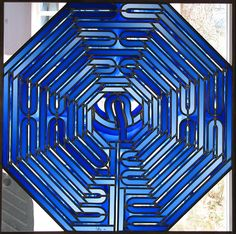 """Art dealer Gallery Barbara Giesicke - Stained Glass - Glasgemälde - Vitraux - LUDWIG SCHAFFRATH (born 1924) """"Labyrinth"""" window, Private commission for a cathedral provost, One-off piece, 1994"""