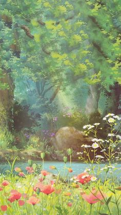 Forest and red flowers illustration art painting anime scenery wallpaper, nature wallpaper, Art Studio Ghibli, Anime Scenery Wallpaper, Nature Wallpaper, Forest Wallpaper, Beautiful Wallpaper, Landscape Wallpaper, Wallpaper Desktop, Fantasy Landscape, Landscape Art