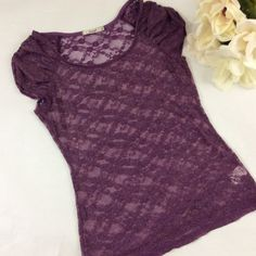 Papaya plum lace top Very pretty lace top. Looks great with a white tank or even a bralette under it. Papaya Tops Tees - Short Sleeve