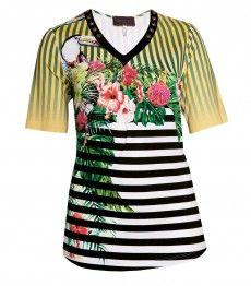 8d748e3aeccbfb Sempre Piu ❤ kurzarm Shirt Damen mit Blumen Gelb große Größen Shirt Damen