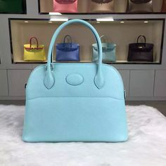 Brand  Hermes  Style  Bolide Bag  Material  epsom calfskin leather Color 3P  Lagon Blue  Size 27 20 10CM  Hardware  silver  Accessories  dust bag. cd73ade8310d9