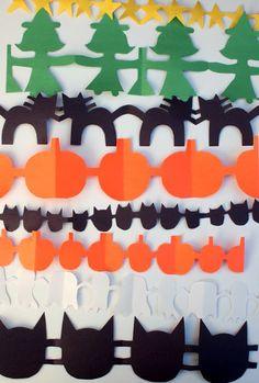Fold N Cut Paper Halloween Garland Dabbletree Holidays