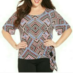 Ny Collection Plus Size Geo-Print Side-Tie Top Ny Collection Plus Size Geo-Print Side-Tie Top NY Collection Tops