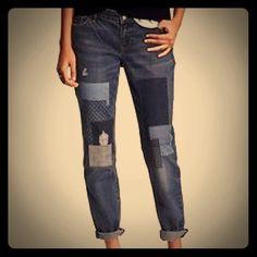 Patchwork Denim Boyfriend Jeans New, Never worn Boyfriend Jeans Old Navy Jeans Boyfriend