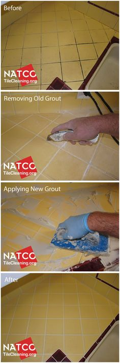 How to regrout a tile countertop with yellow retro style tiles. Paint tiles then regrout for classic finish? Regrouting Tile, Paint Tiles, Tile Grout, White Kitchen Floor, Tile Countertops, Painting Countertops, Home Fix, Yellow Bathrooms, Kitchen Flooring