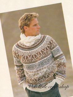 Unisex Norwegian style sweater knitting pattern. Instant PDF download! by VBlittlecraftshop on Etsy Fair Isle Knitting Patterns, Fair Isle Pattern, Knitting Charts, Sweater Knitting Patterns, Knitting Designs, Knit Patterns, Punto Fair Isle, Pinterest Crochet, Norwegian Style