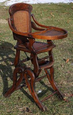 Circa 1890's Victorian Oak Mechanical High Chair Turns to Rocker Has Wheels