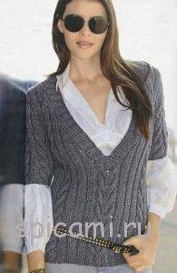 вязаный пуловер с короткими рукавами