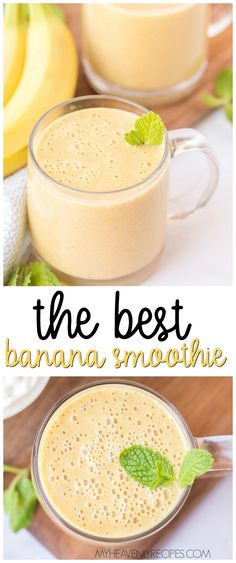 Make this delicious banana smoothie at home, it is delicious! Unknown FAQs Can I add additional ingredients into my banana smoothie? Because smoothies are very versatile in general, there are several additional ingredients or substitutions Banana Drinks, Fruit Drinks, Yummy Drinks, Healthy Drinks, Delicious Desserts, Yummy Food, Refreshing Drinks, Yummy Recipes, Low Fat Smoothies