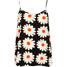 TOPSHOP Daisy Cami ($24) ❤ liked on Polyvore featuring tops, tank tops, shirts, topshop, tanks, black, daisy shirt, woven shirts, polyester camisole and strap shirt