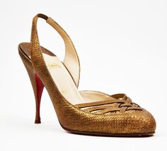 Christian Louboutin Brown And Gold Slingback