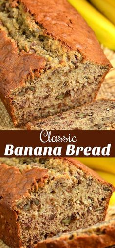 Classic Banana Bread recipe that takes only a few minutes to prepare and tastes amazing every time. Classic Banana Bread recipe that takes only a few minutes to prepare and tastes amazing every time. Healthy Banana Bread, Chocolate Chip Banana Bread, Chocolate Chip Recipes, Banana Bread Recipes, Sweet Banana Bread Recipe, Bisquick Banana Bread, Banana Bread Brownies, Homemade Banana Bread, Easy Bread Recipes