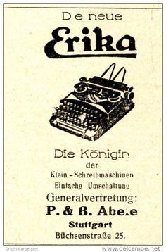 Original-Werbung/ Anzeige 1930 - ABELE STUTTGART / ERIKA SCHREIBMASCHINE  - ca. 40 x 55 mm