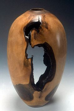 Artistic Wood Turnings | wood turnings: lathe-turned walnut hollow vessel with bark inclusions