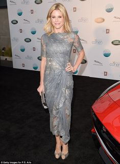 Greek goddess! Julie Bowen was an elegant vision in a sheer lace grey dress that hugged her petite curves while at the P.S. ARTS Presents LA...
